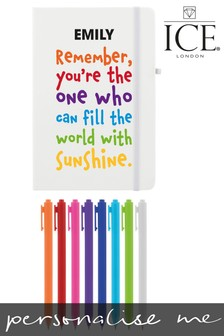 Personalised Rainbow Quote Notebook with Set of 8 Pens by Ice London