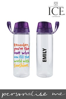 Personalised Rainbow Quote Water Bottle by Ice London