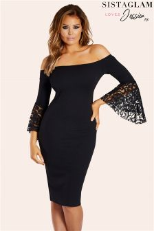 Jessica  Wright Frill Sleeve Midi Dress