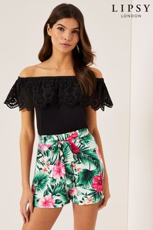 Lipsy Tropical Tie Front Shorts