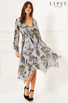 Lipsy Paisley Hanky Hem Dress