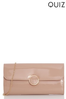 Quiz Patent Circle Trim Clutch Bag
