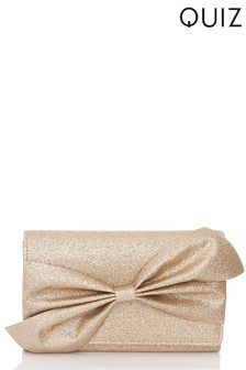Quiz Glitter Bow Clutch Bag
