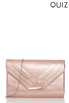Quiz Shimmer Pleated Clutch Bag