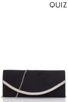 Quiz Diamanté Curve Trim Clutch Bag
