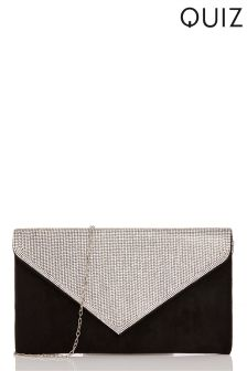 Quiz Diamanté Flap Envelope Bag