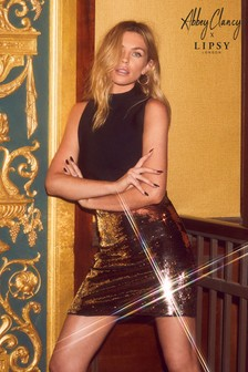 Abbey Clancy x Lipsy Brushed Sequin Mini Skirt