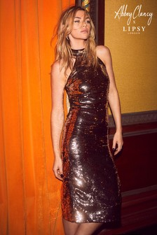 Abbey Clancy x Lipsy Sequin Halterneck Midi Dress