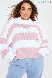 In The Style Curve Billie Faiers Stripe Oversized Jumper