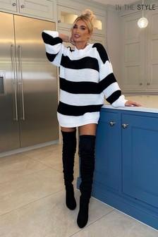 In The Style Curve Billie Faiers Stripe Oversized Jumper Dress