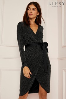 Robe portefeuille Lipsy avec fines rayures à paillettes