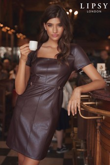 Lipsy Square Neck Faux Leather Dress