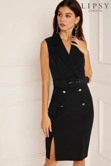 Lipsy Tux Self Belt Midi Dress