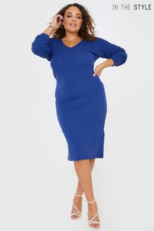 In The Style Curve Billie Faiers Knitted Rib Midi Dress