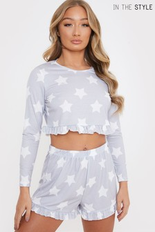 In The Style Exclusive All Over Star Print Longsleeve Shorts PJ Set