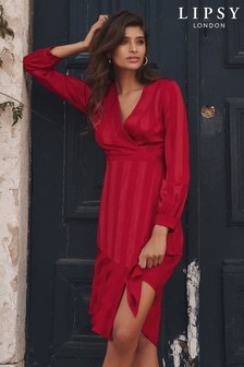 Lipsy Self Stripe Wrap Midi Dress