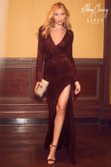 Abbey Clancy x Lipsy Tall Glitter Wrap Maxi Dress