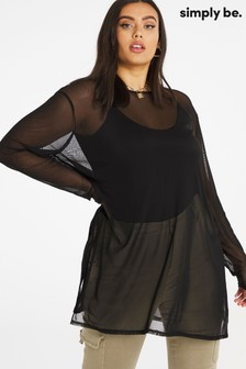 Simply Be Longline Side Split Mesh Tunic