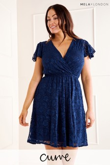 Mela Curve Ruffle Sleeve Heathe Lace Dress