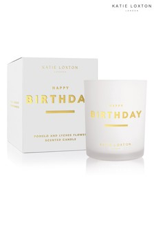 Katie Loxton Sentiment Candle | Happy Birthday | Pomelo and Lychee Flower | 160g