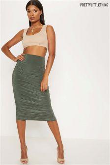 PrettyLittleThing Ruched Midi Skirt
