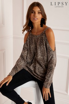Lipsy Leopard Cold Shoulder Top