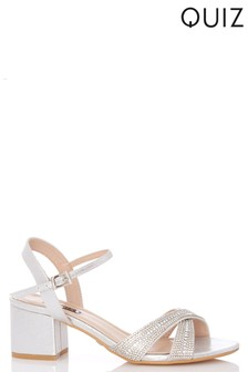 Quiz Cross Strap Low Heeled Block Sandal