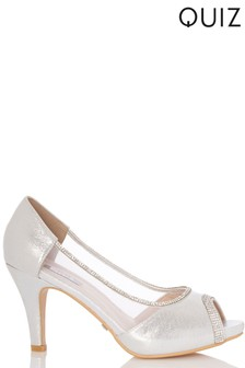 Quiz Diamanté Peep Toe Heeled Shoe
