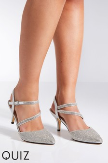 Quiz Cross Strap Low Heeled Courts