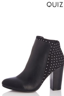Quiz Studded Block Heel Boots