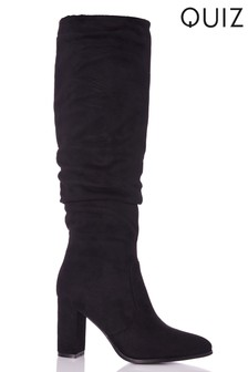 Quiz Ruched Block Heel Knee Boots