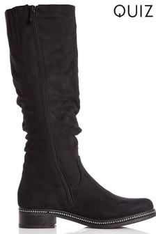 Quiz Ruched Diamante Trim Knee Boots