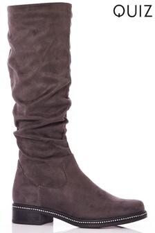 Quiz Ruched Diamante Trim Flat Knee Boots