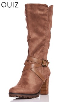Quiz Buckle Calf High Boot