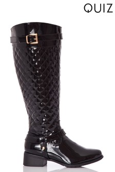 Quiz Patent Quilted Flat Knee Boot