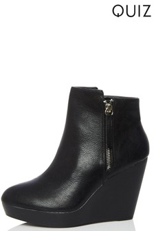 Quiz Side Zip Wedge Ankle Boots