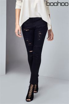 Boohoo Mid Rise Ripped Super Skinny Jeans