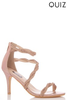 fba2ed8e94e Quiz Diamanté Twist Asymmetric Strap Mid Heel Sandals