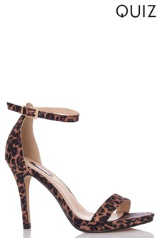 Quiz Leopard Satin Two Part High Heeled Sandal