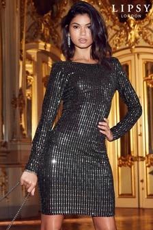 שמלה מטאלית צמודה עם מחשוף גב של Lipsy