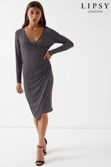 Lipsy Petite Geometric Wrap Midi Dress