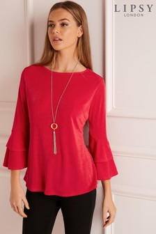 Lipsy Ruffle Sleeve Necklace Top