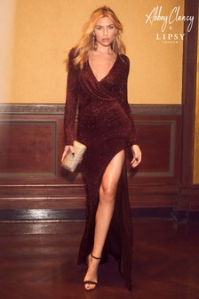 Abbey Clancy x Lipsy Petite Glitter Wrap Maxi Dress