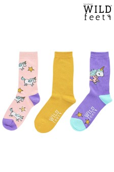 Wild Feet Unicorn 3 Pairs of Socks