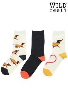 Wild Feet 3 Pack Hot Dog Socks