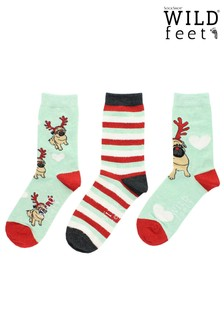 Wild Feet 3 Christmas Pug Socks