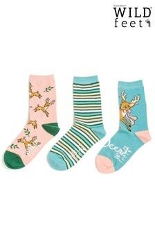 Wild Feet 3 Pack Deer Socks
