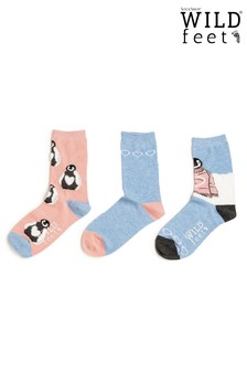 Wild Feet Penguins 3 Pairs of Socks