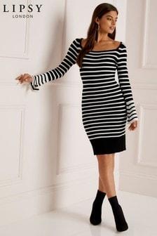 Lipsy Monogram Striped Midi Dress