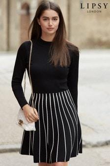 Lipsy Kariertes 2-in-1-Kleid mit Stehkragen und Paspeln